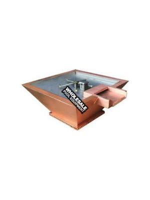 """Builder Series Square 24"""" x 7"""" copper original lip water/fire pot, manual key valve ignition and fire ring. BOBE Crate Fee Not included in Pricing"""