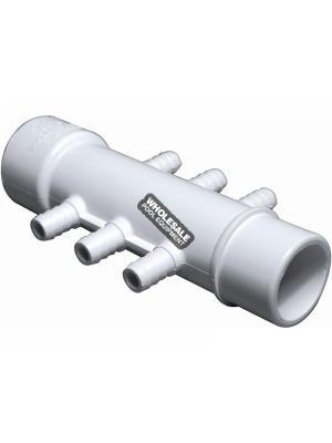 """Waterway Plastics 672-3900  3/8"""" Barb Manifolds - 1"""" S x 1"""" Spigot x (6) 3/8"""" RB Barbs"""