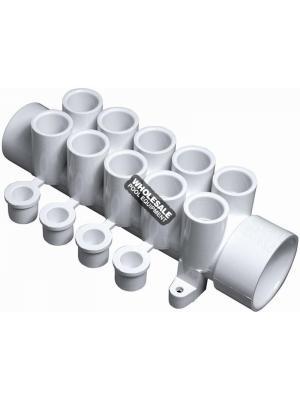 "Waterway Plastics 672-4630  1/2"" Manifolds - 1 1/2"" Spigot x 1 1/2"" S x (10) 1/2"" S Ports with Plugs (4)"