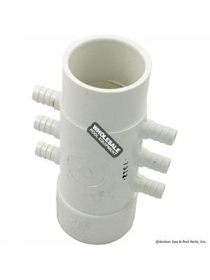 "Waterway Plastics 425-4000  3/8"" Barb Manifolds - 1 1/2"" Spigot x 1 1/2"" S x (6) 3/8"" RB Barbs"