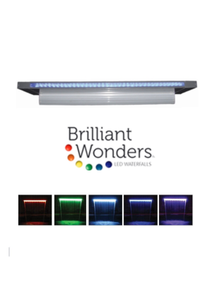 "CMP 25677-431-000 Brilliant Wonders LED Waterfall 48"" Sheer 6"" Lip, Gray"