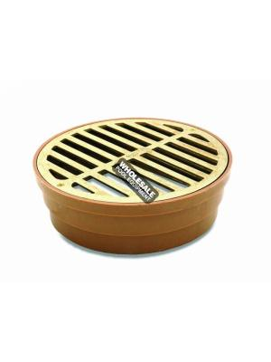 NDS 918B Round Grate with Styrene Collar; 6 Inch, Satin Brass