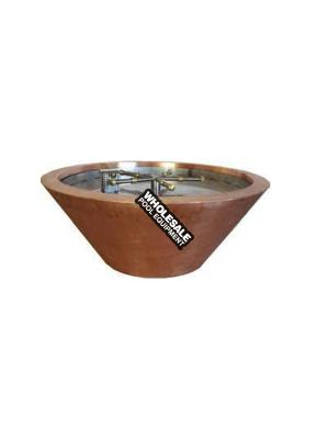 """ROUND COPPER FIRE POT 32"""" X 12"""", 18"""" SS FIRE RING MANUAL KEY VALVE KIT AND MEDIA PLATE. BOBE Crate Fee Not included in Pricing"""
