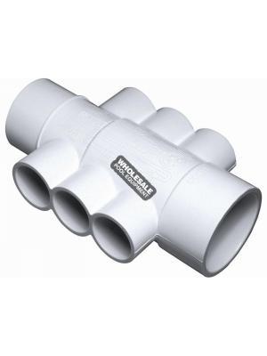 """Waterway Plastics  672-4550  2""""SPGX2""""SX(6)1""""S PORTS MANIFOLD"""