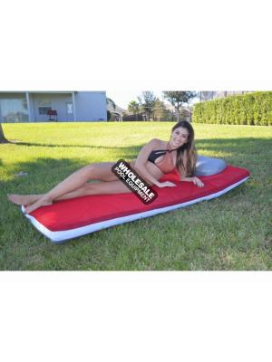 MAIN ACCESS 305630 AQUA CLOUD DUO FLOAT Oversized Reversible Pool Mattress; Includes: Built-In Pillows, Heavy-Duty Inflatable Bladder & Mesh Storage Bag, Dimensions: 3' W x 6' L, Color: Scarlet/Gray