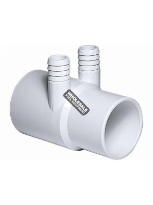 """Waterway Plastics 3/4"""" Ribbed Barb Manifolds - 2"""" S x 2"""" Spigot x (2) 3/4"""" RB"""