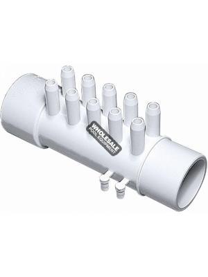 """Waterway Plastics 672-4660  3/8"""" Barb Manifolds - 1 1/2"""" Spigot x 1 1/2"""" S x (10) 3/8"""" Barbs with Plugs (4)"""