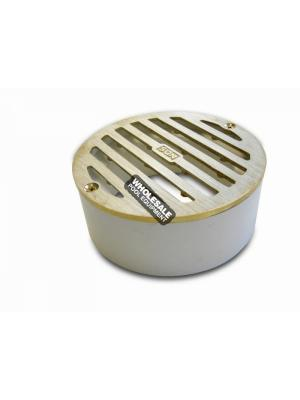 NDS 910B Heel Proof Round Grate with PVC Collar; 4 Inch, Satin Brass