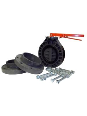 "Lasco 4"" 711N Butterfly Valve & Flange Kit W/ Zinc Bolts"