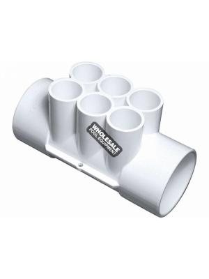 "Waterway Plastics 672-4270 3/4"" Manifolds - 2"" S x 2"" S x (6) 3/4"" S Ports"
