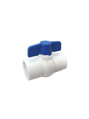 "Lasco 1.5"" PVC Ball Valve SxS, White"